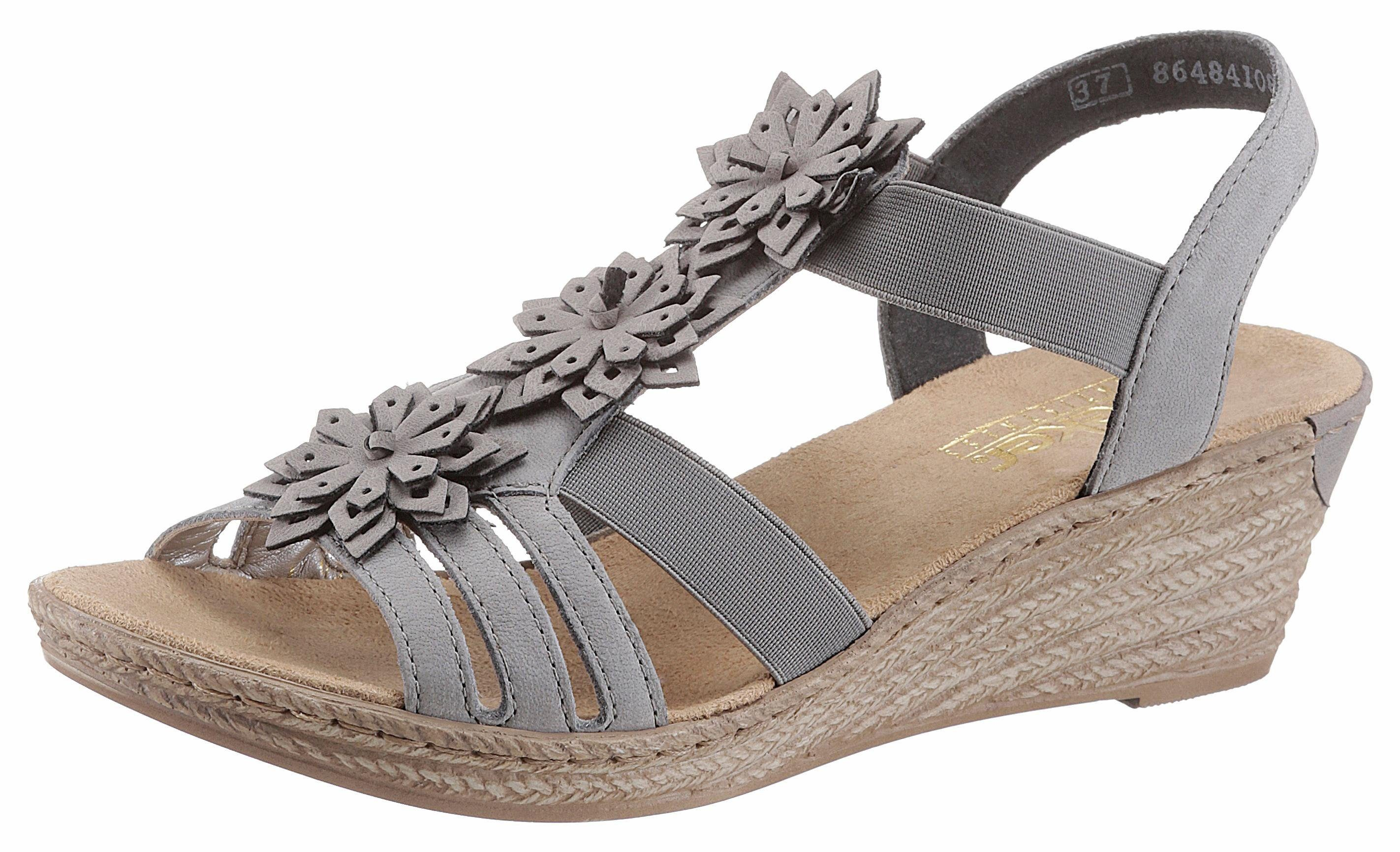 Rieker Sandalette, mit modischen Blüten verziert  grau
