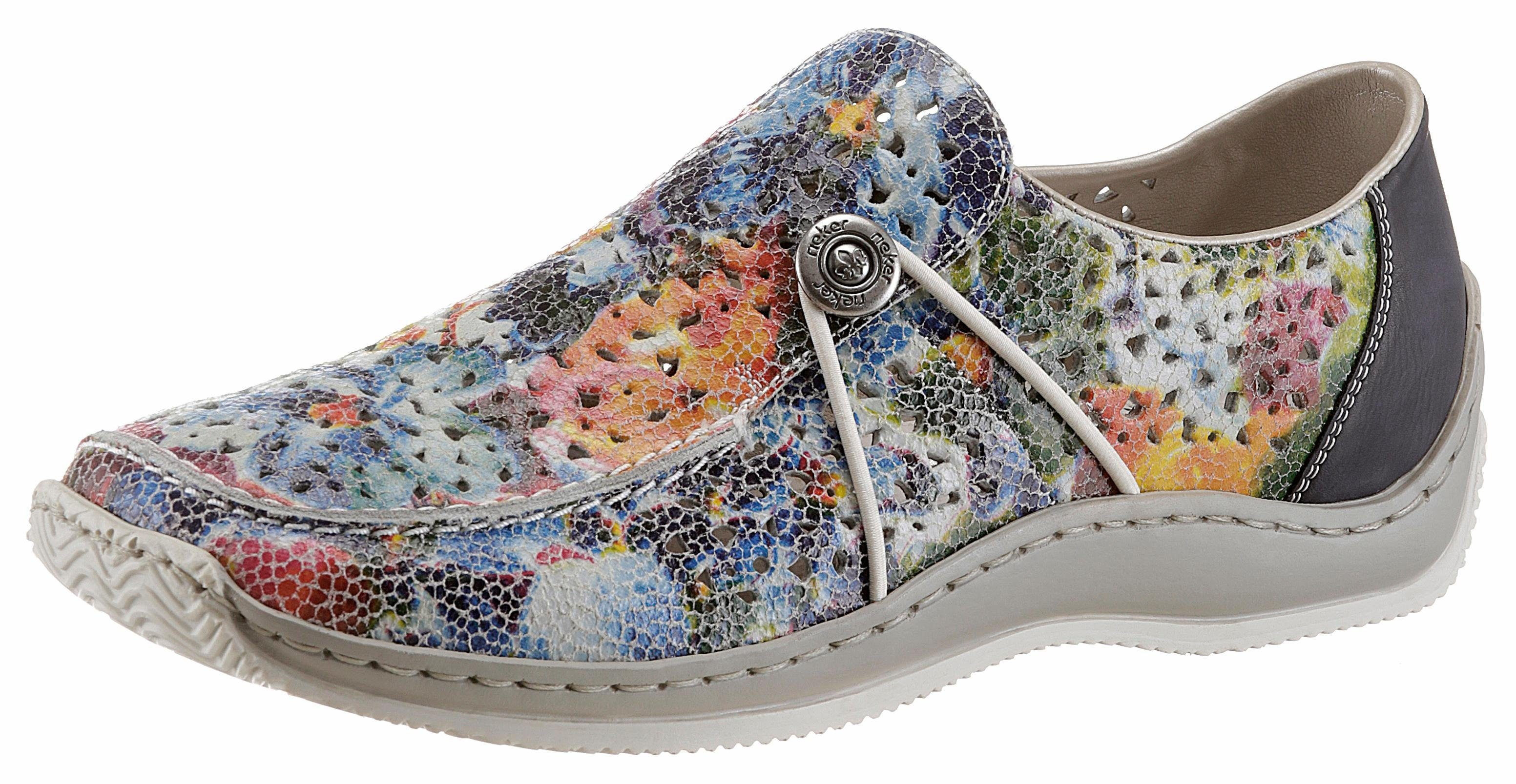 Rieker Slipper, mit bunten Blütendruck und Perforation online kaufen  blau-multi