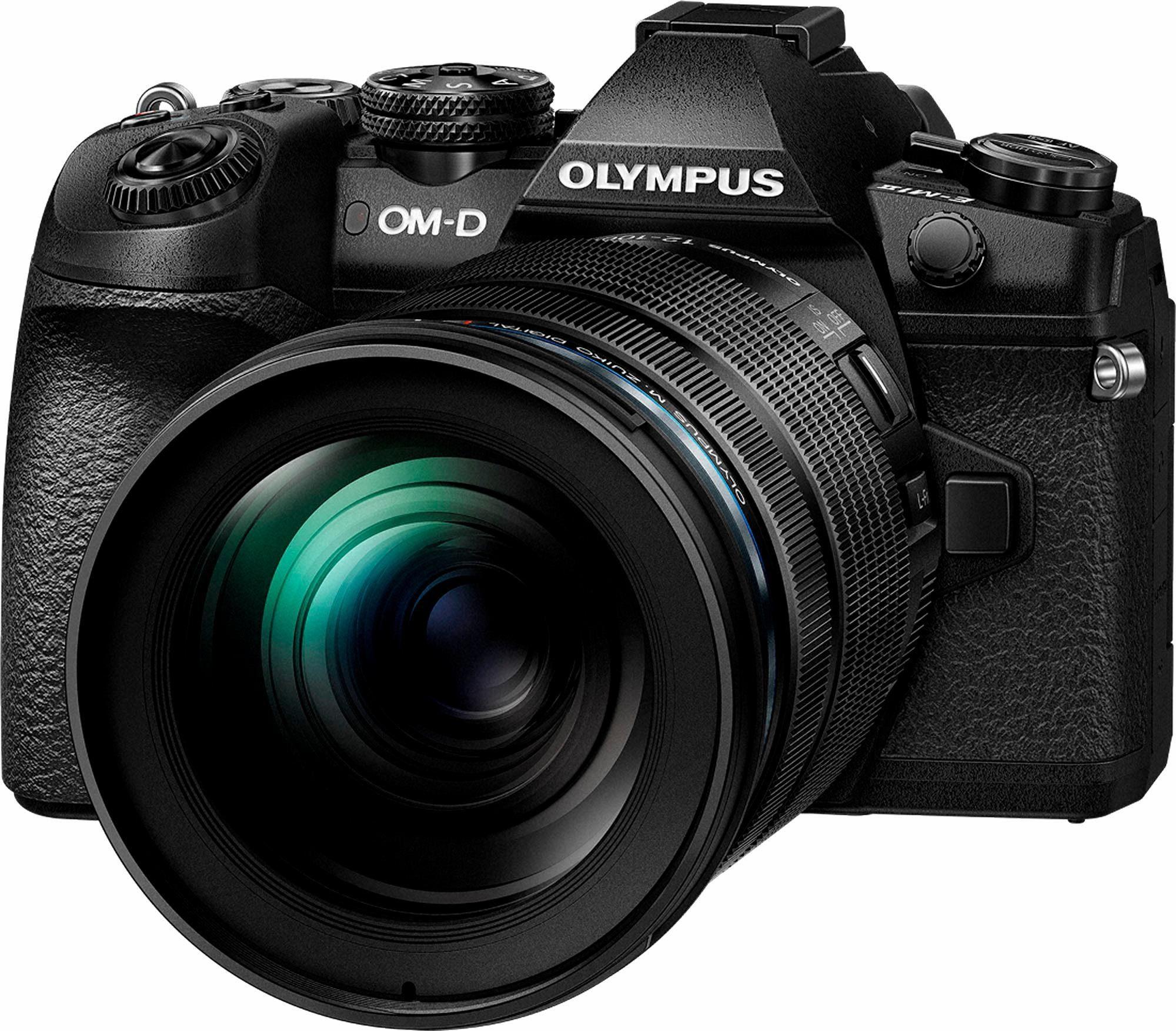Olympus E-M1 Mark II Body inkl. 12-100mm PRO Objektiv, Sonnenblende, Ladegrät, Akku System Kamera
