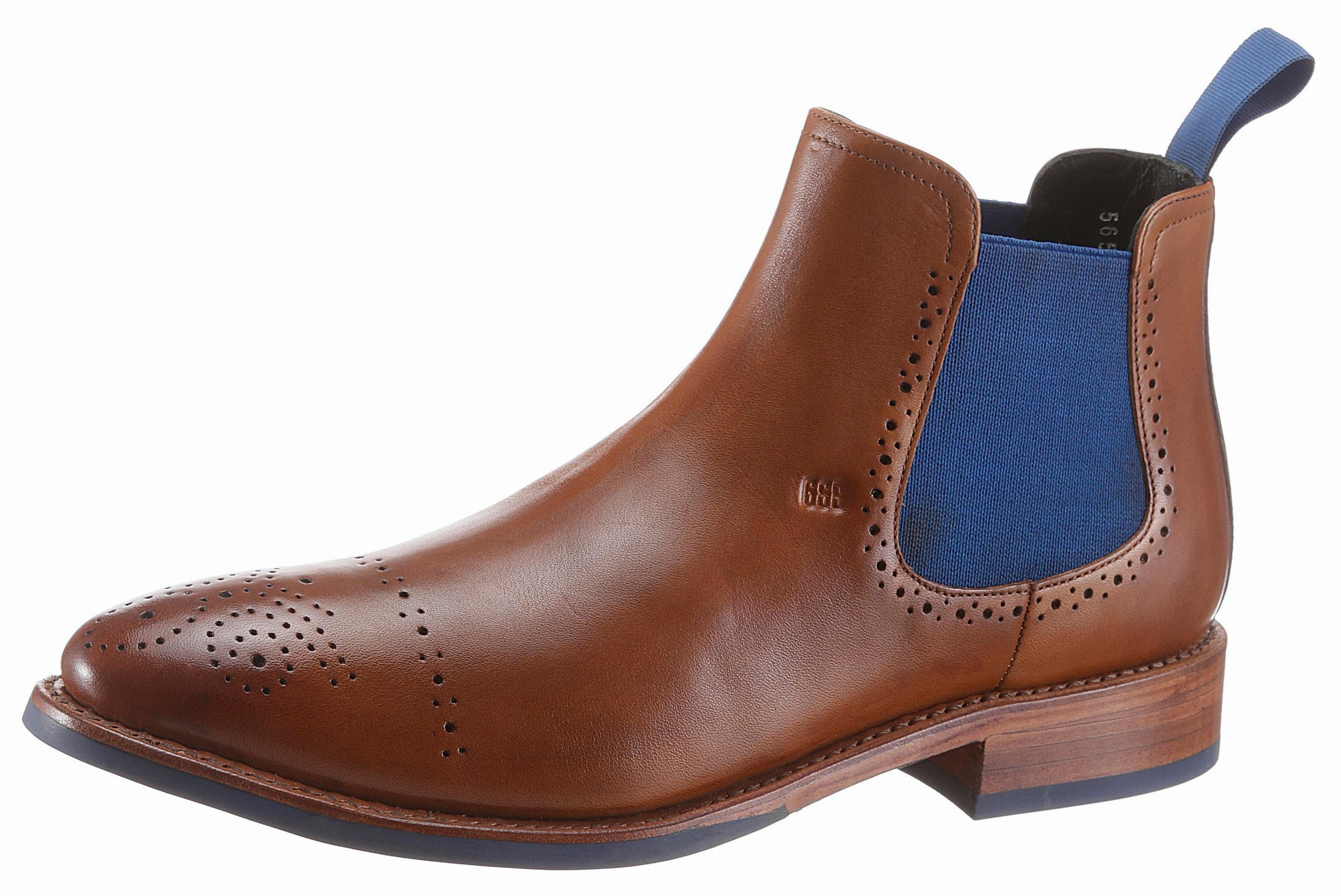 GORDON & BROS Bojan Chelseaboots, mit kontrastfarbenen Stretcheinsatz online kaufen  cognac-used-finish