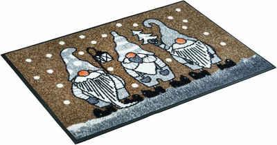 Fußmatte »Winterzwerge«, wash+dry by Kleen-Tex, rechteckig, Höhe 7 mm, Schmutzfangmatte, waschbar