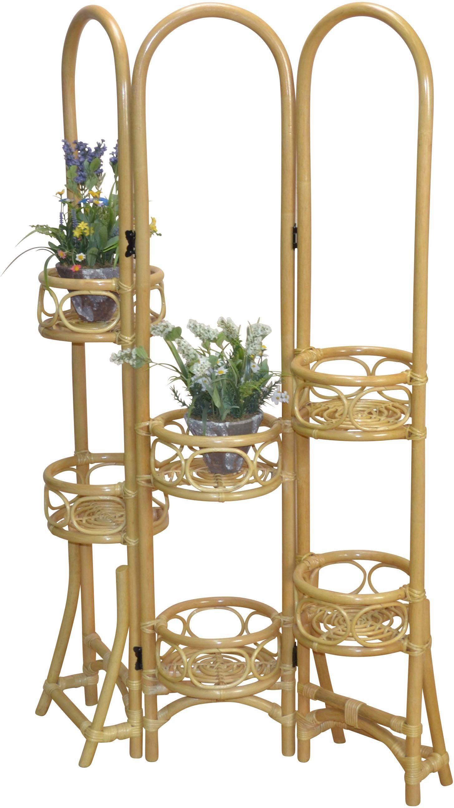 Home affaire Rattan-Paravent mit Blumenhalterung