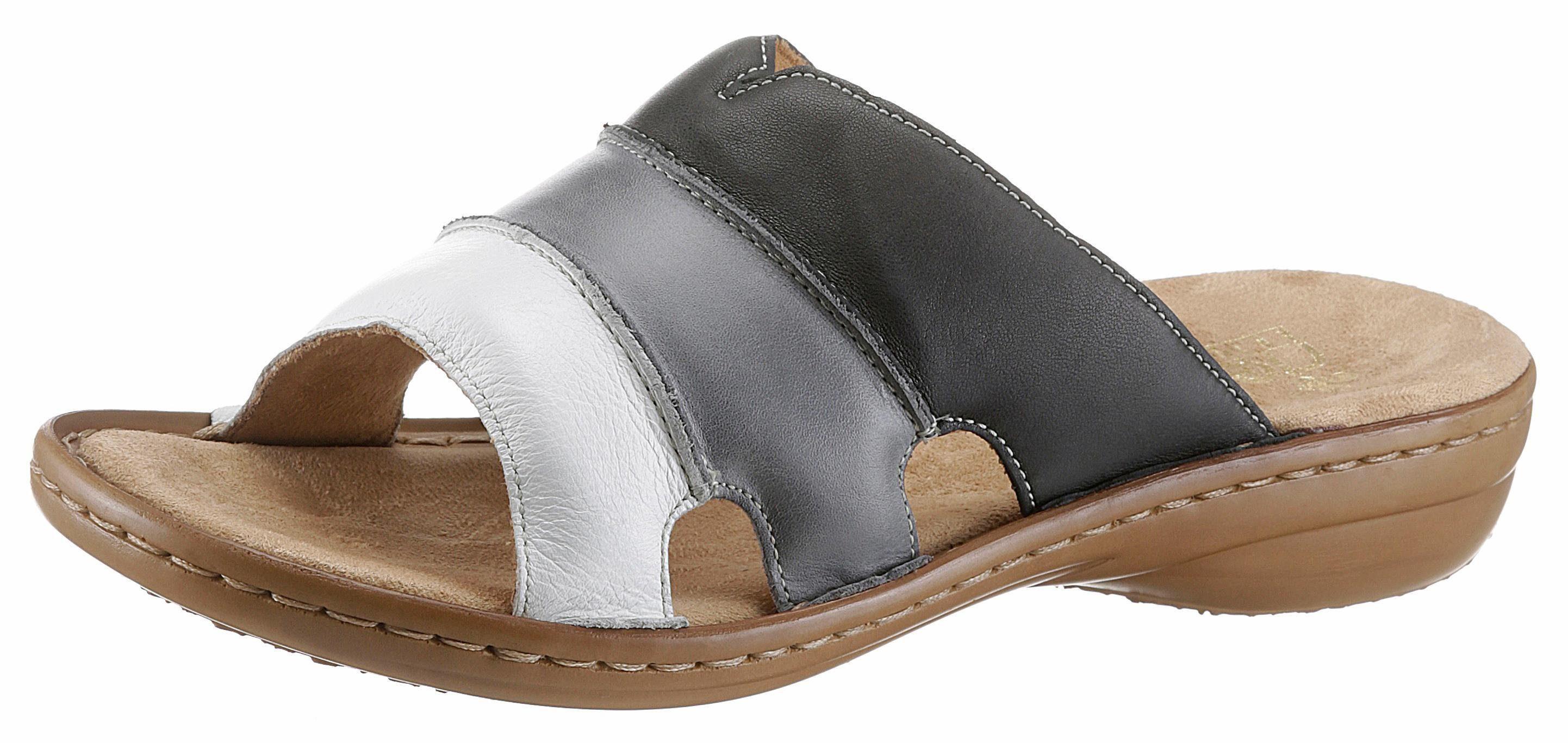 Rieker Pantolette, in Patchwork-Optik kaufen  nachtblau-grau-weiß