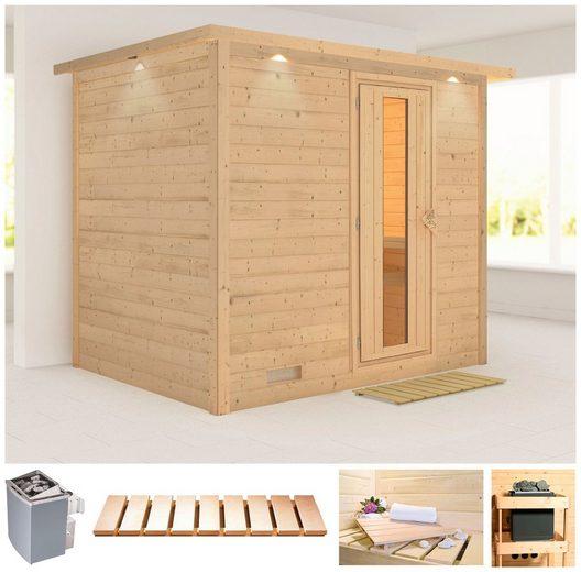 KARIBU Sauna »Sonara«, 259x210x202 cm, 9 kW Ofen mit int. Steuerung, Dachkranz