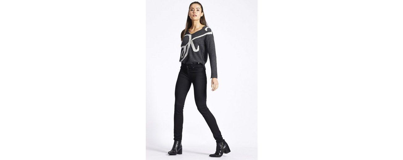 khujo V-Ausschnitt-Pullover RHABEA, mit Rückenpartien im Destroyed-Look