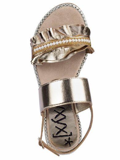 XYXYX Sandalette mit Rüschen und Schmuckperlchen