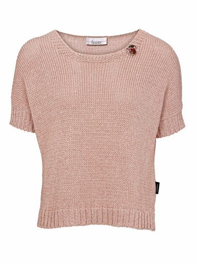 Linea Tesini By Heine Crew-neck Sweater With Removable Button