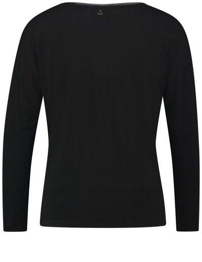 Taifun T-Shirt Langarm Rundhals Blusenshirt mit Material-Mix