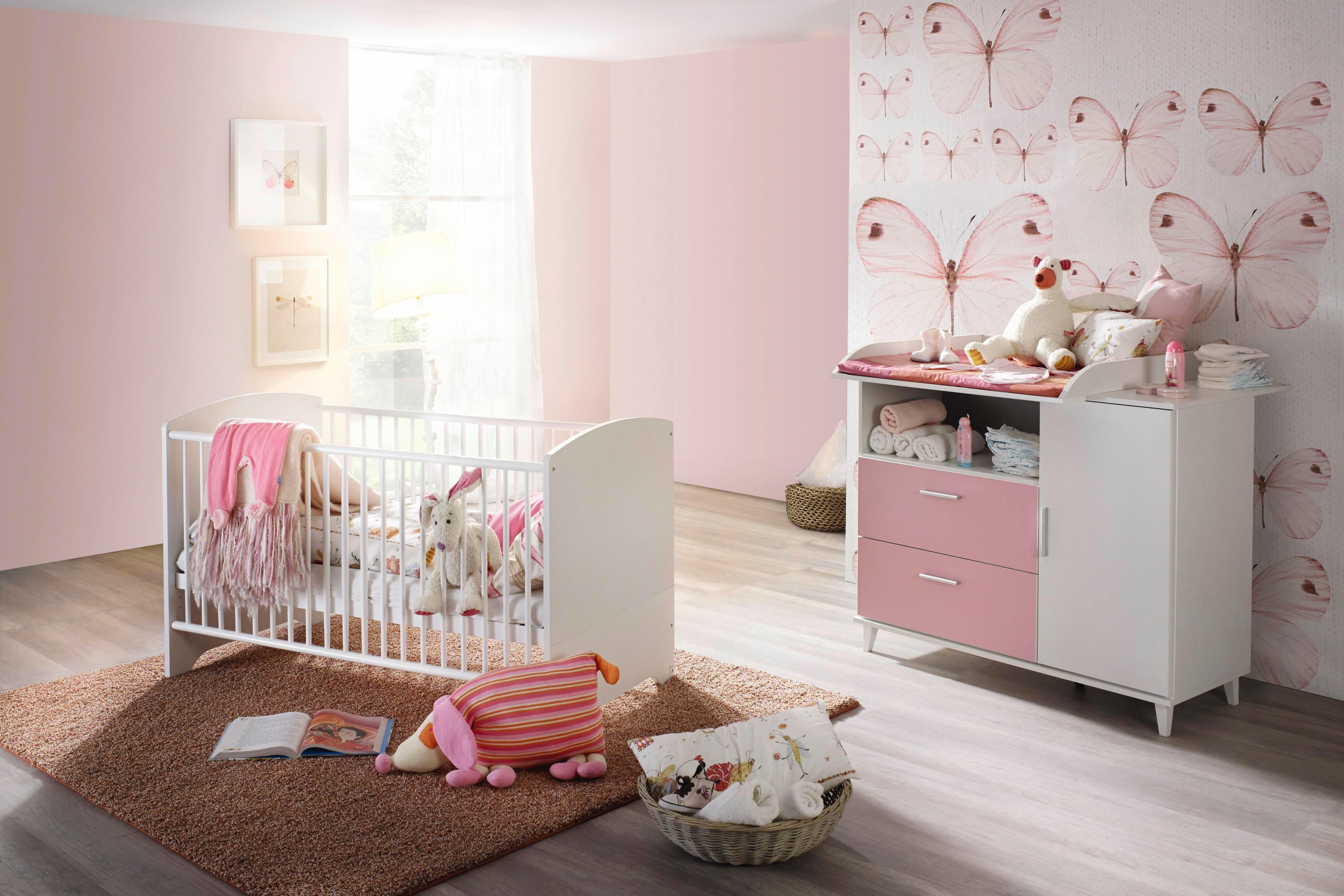 Babyzimmer Spar-Set »Nizza«, Babybett + Wickelkommode (2-tlg.) in rosa/ alpinweiß