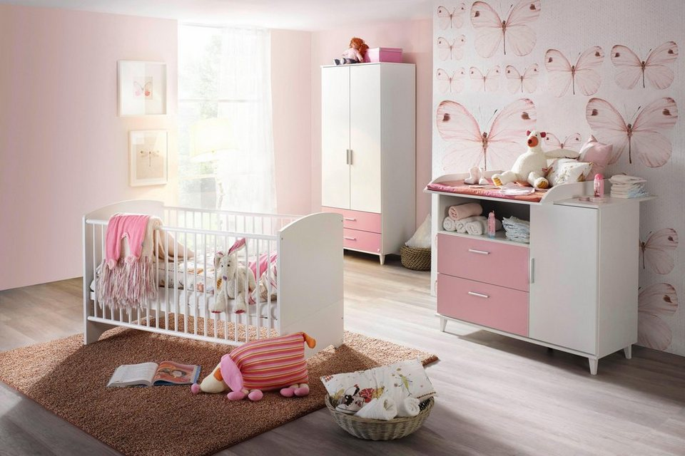 komplett babyzimmer nizza babybett wickelkommode 2 trg kleiderschrank 3 tlg set in. Black Bedroom Furniture Sets. Home Design Ideas