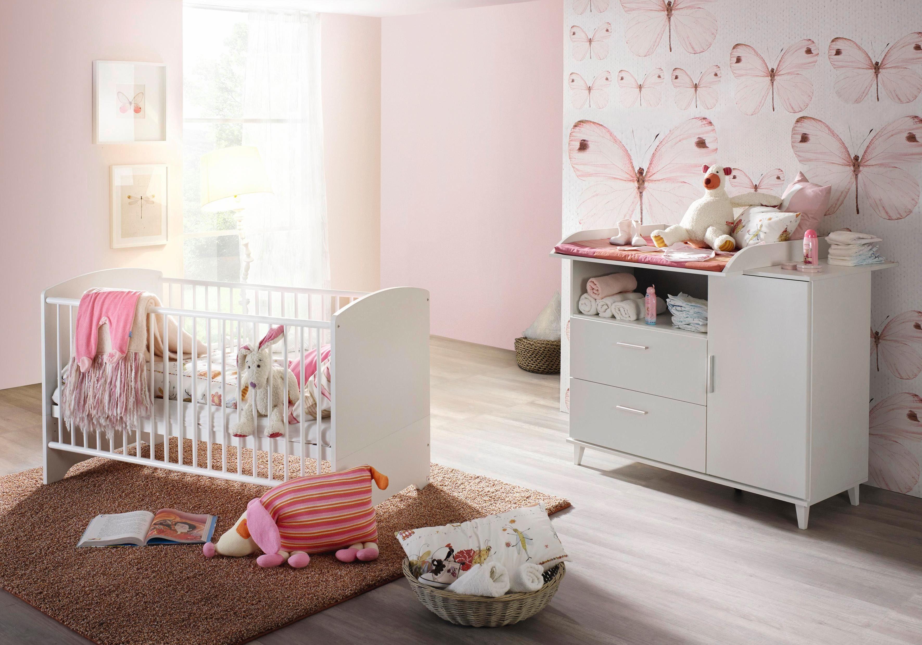 Babyzimmer Spar-Set »Nizza«, Babybett + Wickelkommode (2-tlg.) in alpinweiß