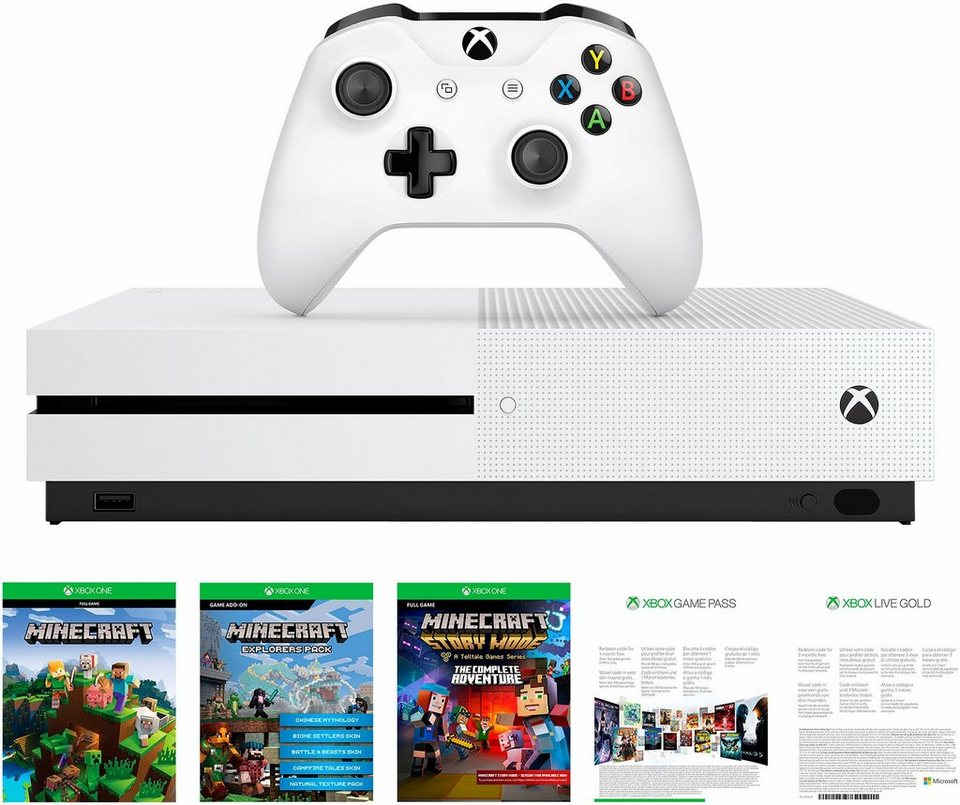 xbox one s 500 gb konsole minecraft dlc complete. Black Bedroom Furniture Sets. Home Design Ideas