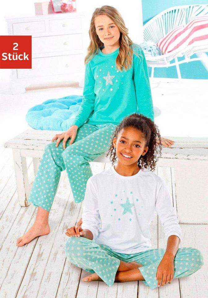 ec80873348c23 Petite Fleur Mädchen Pyjama lang ( 2 Stück) mit Sterne Print online ...