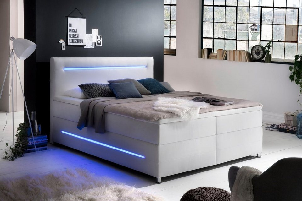 Meise.möbel Boxspringbett, Mit LED Beleuchtung, Wahlweise