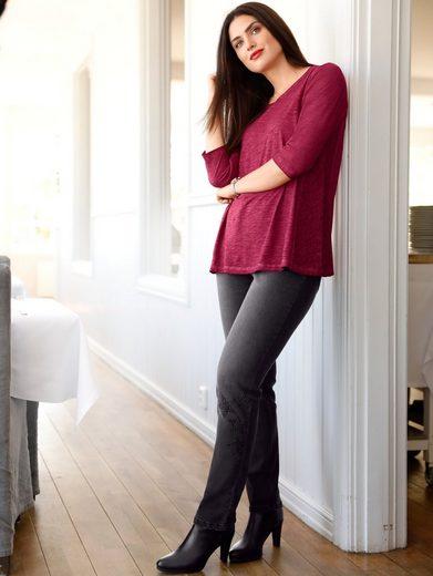 Sara Lindholm by Happy Size Shirt oil wash mit Spitze