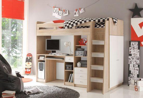 Hochbett mit Kleiderschrank, Schreibtisch und Schubladen