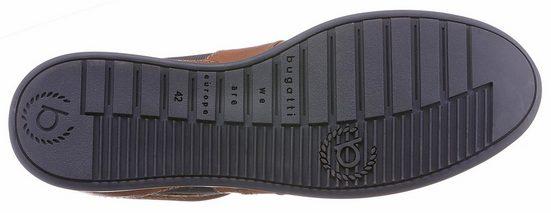Bugatti Schnürschuh, mit stylischem Textileinsatz