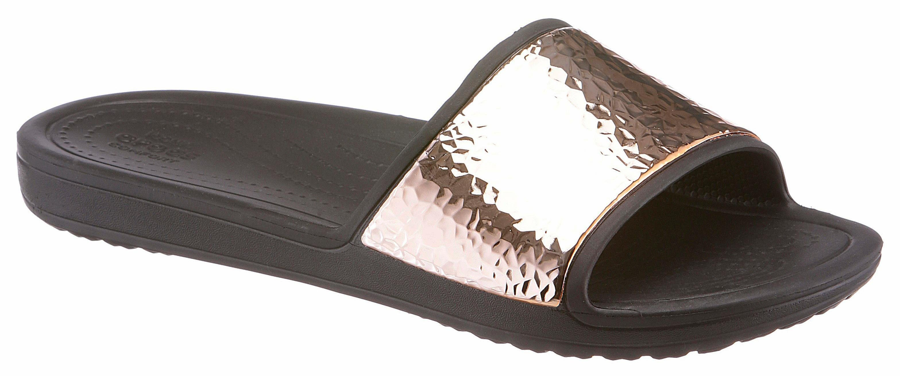 Crocs Sloane Hammered Met Slide Pantolette, mit metallischer Verzierung online kaufen  rosé