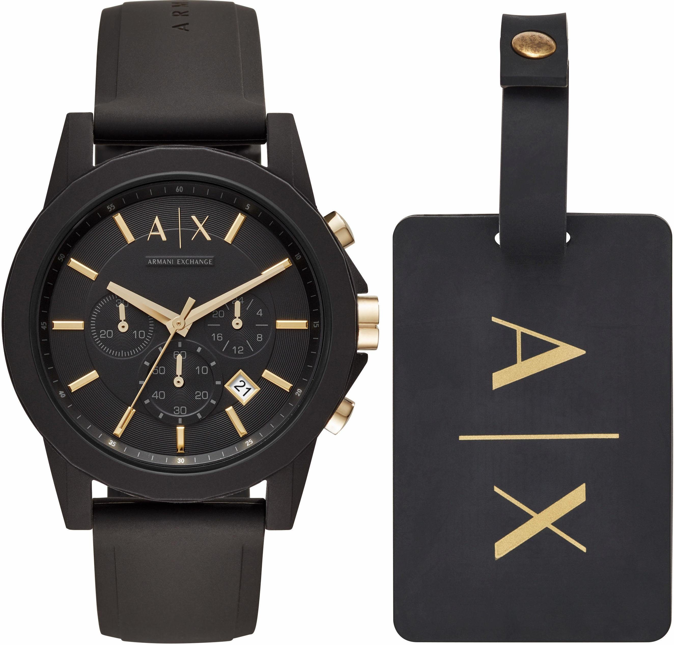 ARMANI EXCHANGE Chronograph »AX7105« (Set, 2 tlg) mit 1 Kofferanhänger