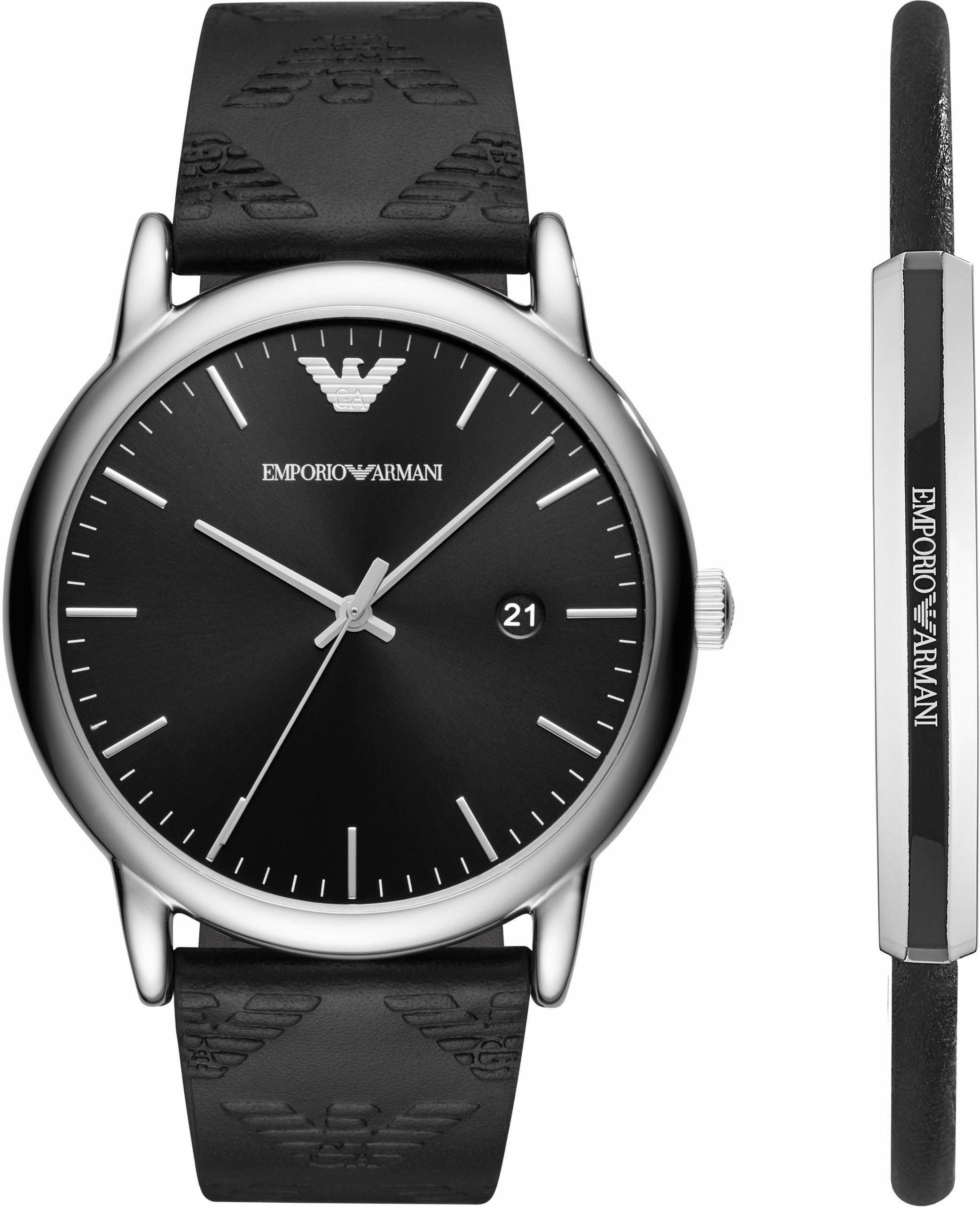 Emporio Armani Quarzuhr »AR80012« (Set, 2 tlg) mit 1 Armband
