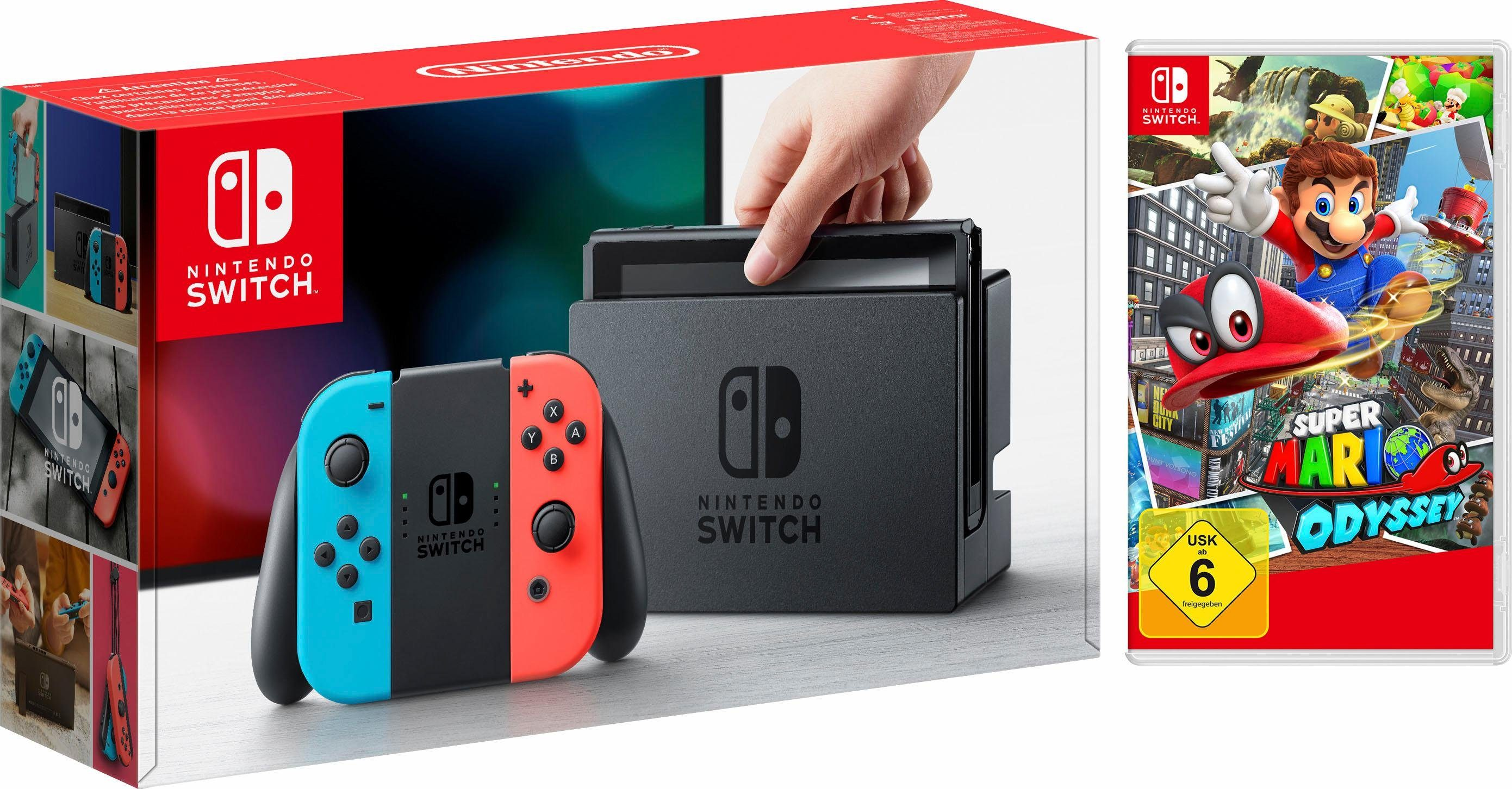 Nintendo Switch Konsole Neon-Rot/Neon-Blau + Super Mario Odyssey