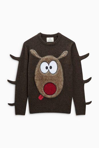 Next Weihnachtspullover mit Rudolphmotiv