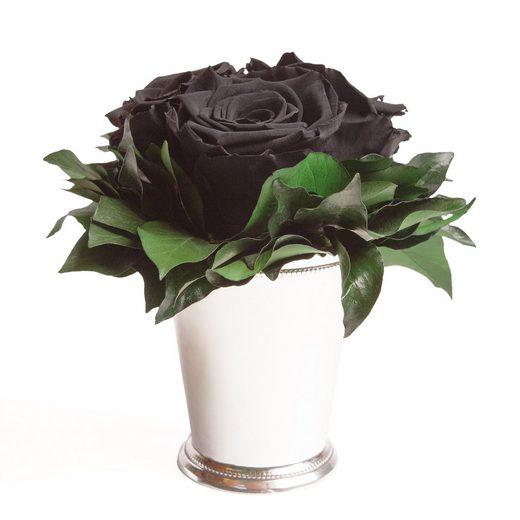Kunstorchidee »3 Infinity Rosen in silberfarben Becher Wohnzimmer Deko Blumenstrauß Geschenk für Frauen Kunstpflanze« Rose, ROSEMARIE SCHULZ Heidelberg, Höhe 15 cm, Rose haltbar bis zu 3 Jahre