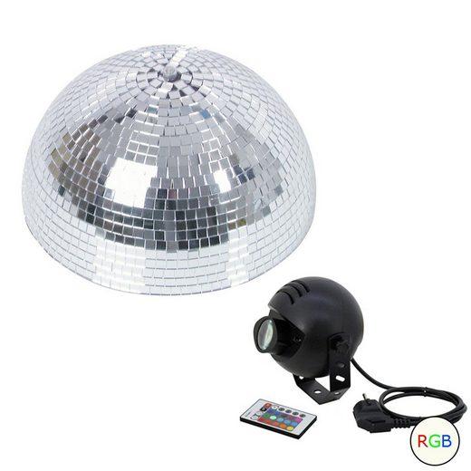 SATISFIRE Discolicht »Set Halbspiegelkugel 30cm + 1 x LED Pinspot 9W Farbwechser RGB«