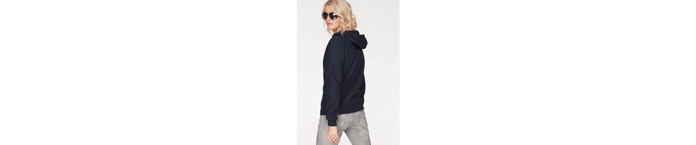 SOCCX Kapuzensweatshirt, mit großem Druck und Streifen Details in der Kapuze
