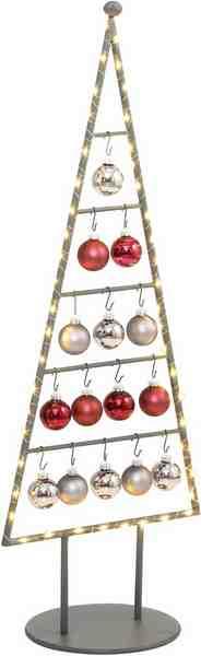 Weihnachtsbaum aus Metall in unterschiedlichen Größen, inkl. Glaskugeln und Micro-LED Lichterkette