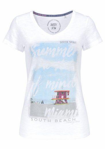 SOCCX Print-Shirt, mit großem Glitzer-Druck vorne