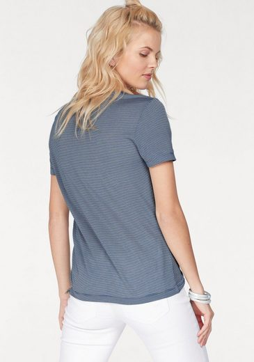 Lacoste V-shirt, In A Slightly Transparent And Transversely Ribbed Marigold