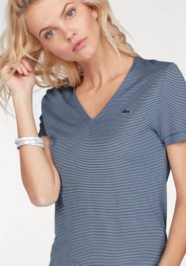 Lacoste V-Shirt, im leicht transparentem, quer geripptem Ringel