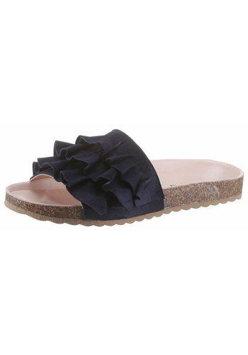 Damen Esprit Lisa Slide Pantolette mit modischen Rüschen blau | 04060468450386