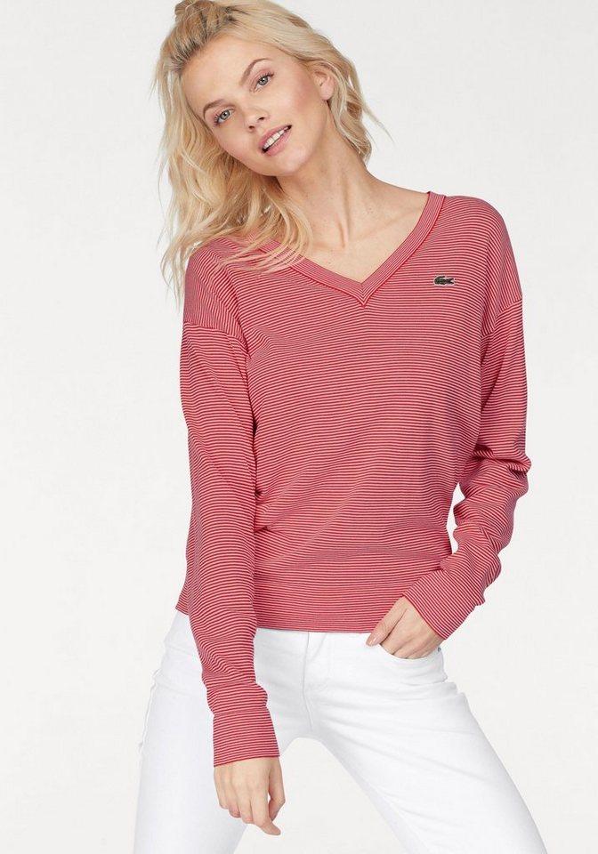 d33e7e919941 Lacoste V-Ausschnitt-Pullover mit modischem Ringeldesign online ...