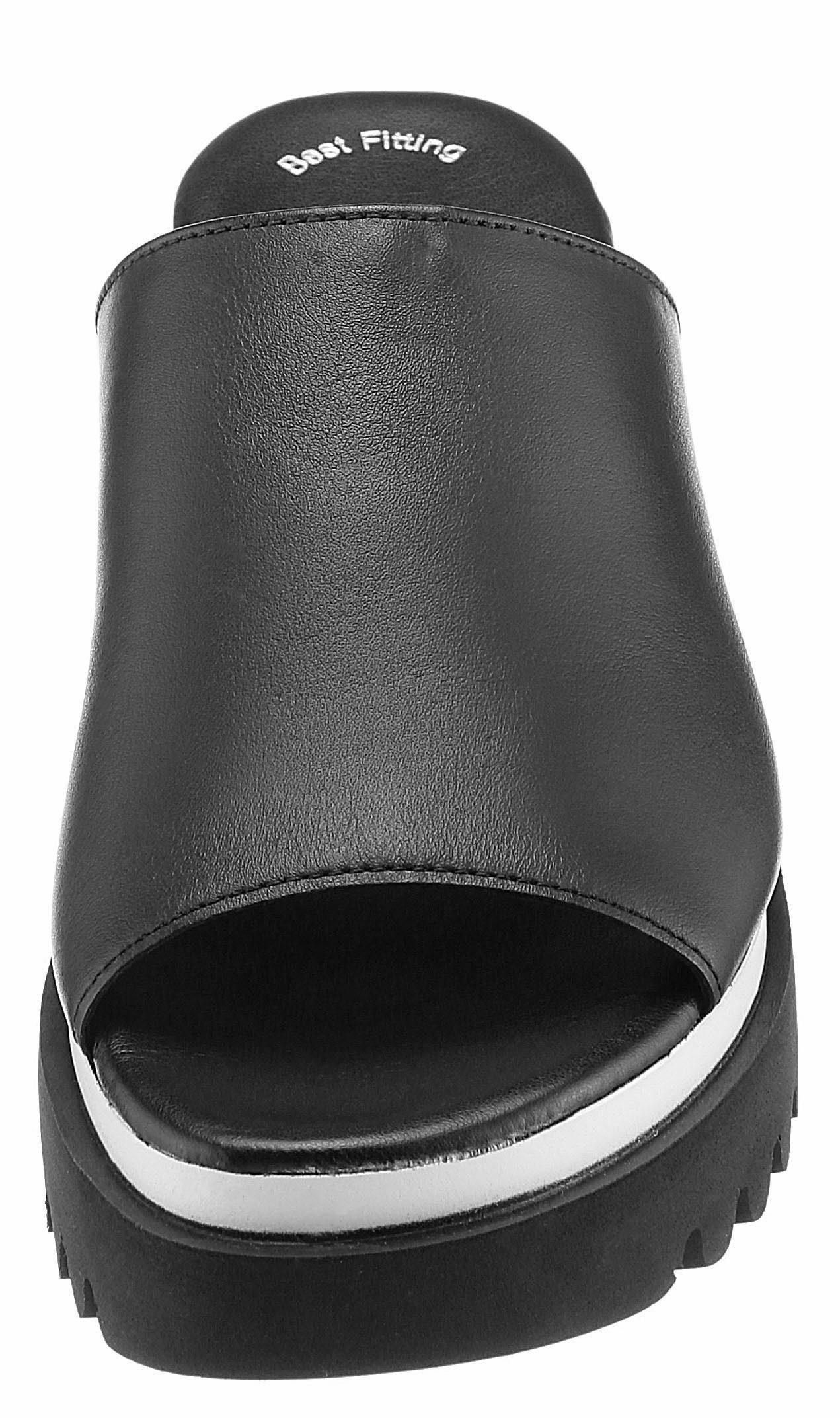 Gabor Pantolette, mit weiß-schwarzem Plateau  schwarz