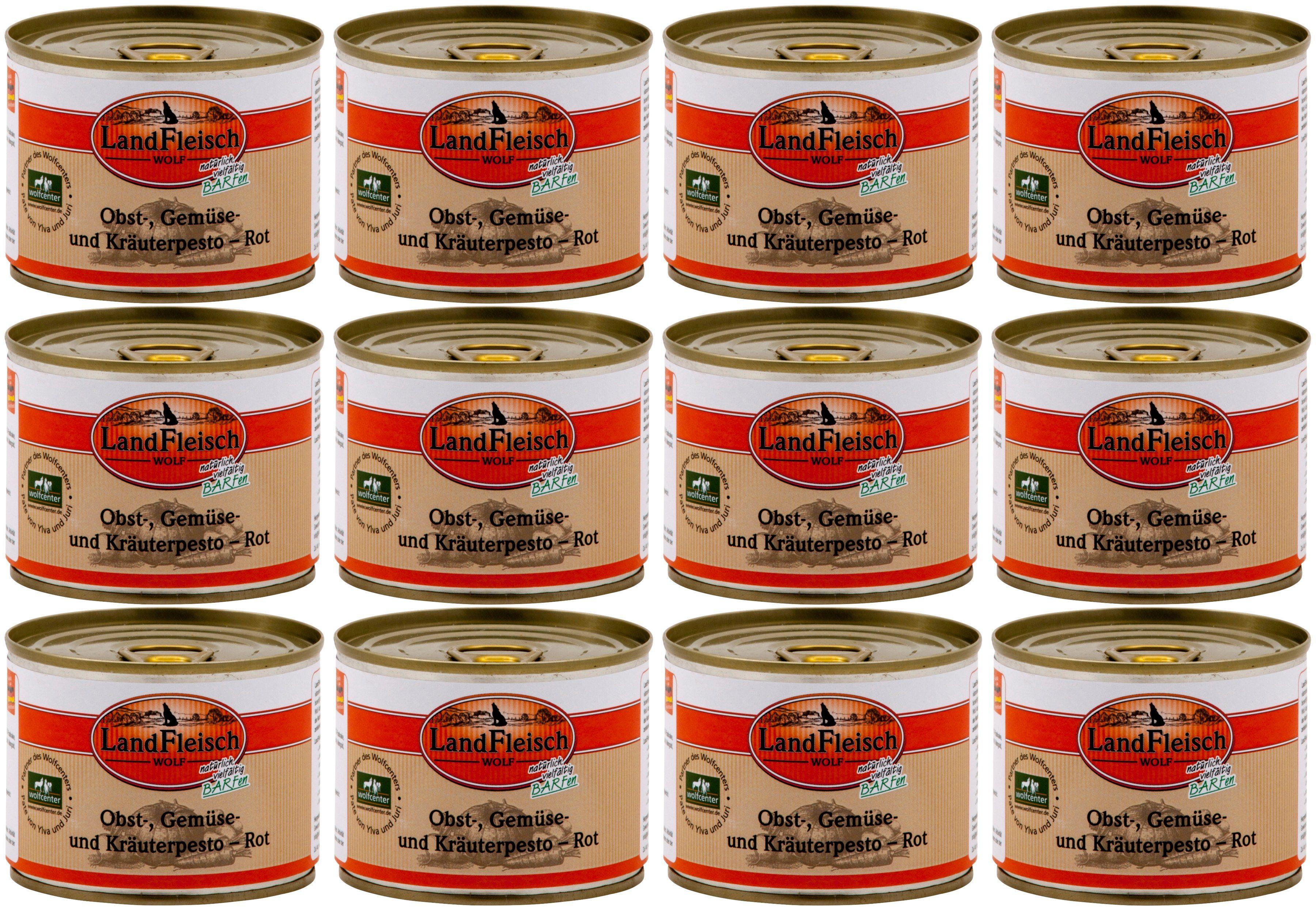 LANDFLEISCH Hundenassfutter »Wolf Barf Pesto Rot«, 12 Dosen á 200 g