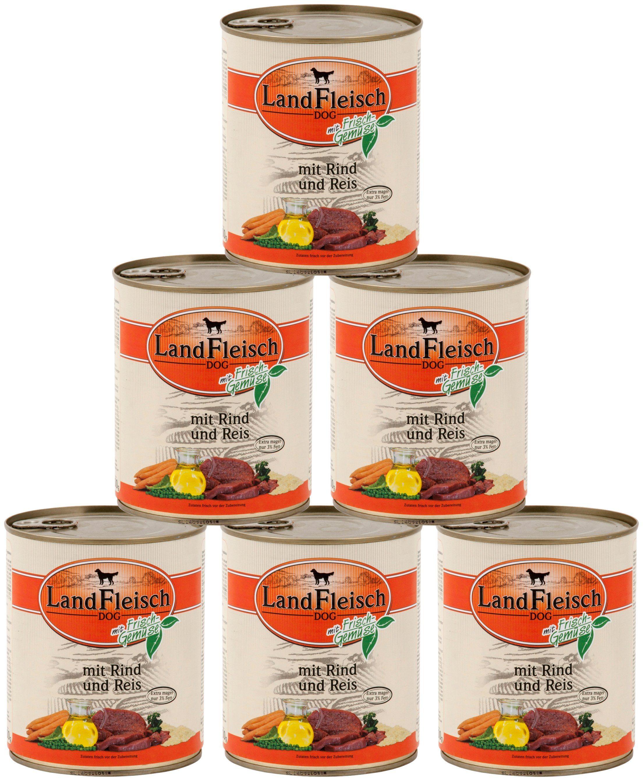 LANDFLEISCH Hundenassfutter »Pur Rind und Reis«, 6 Dosen á 800 g