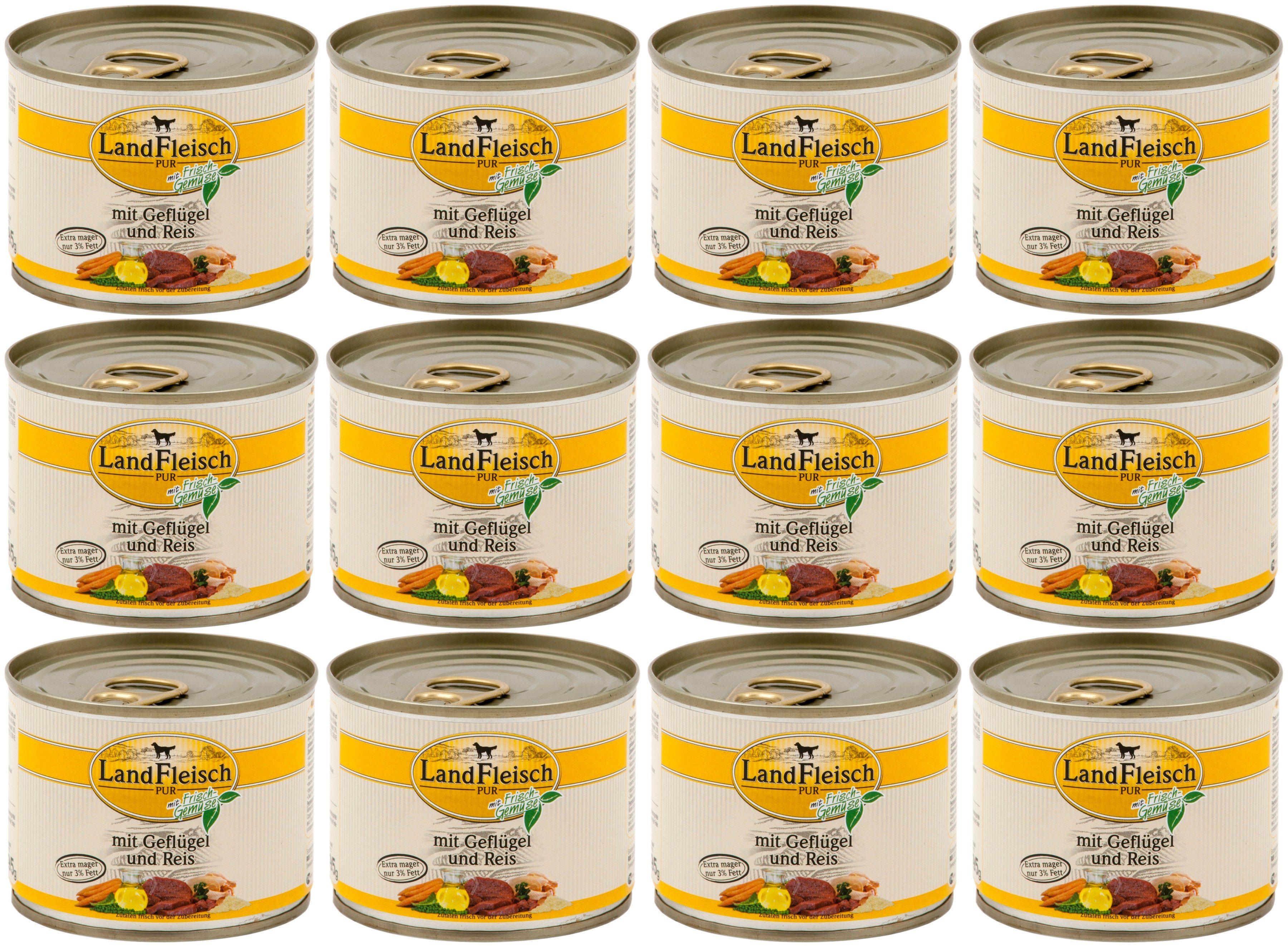 LANDFLEISCH Hundenassfutter »Pur Geflügel und Reis«, 12 Dosen á 195 g