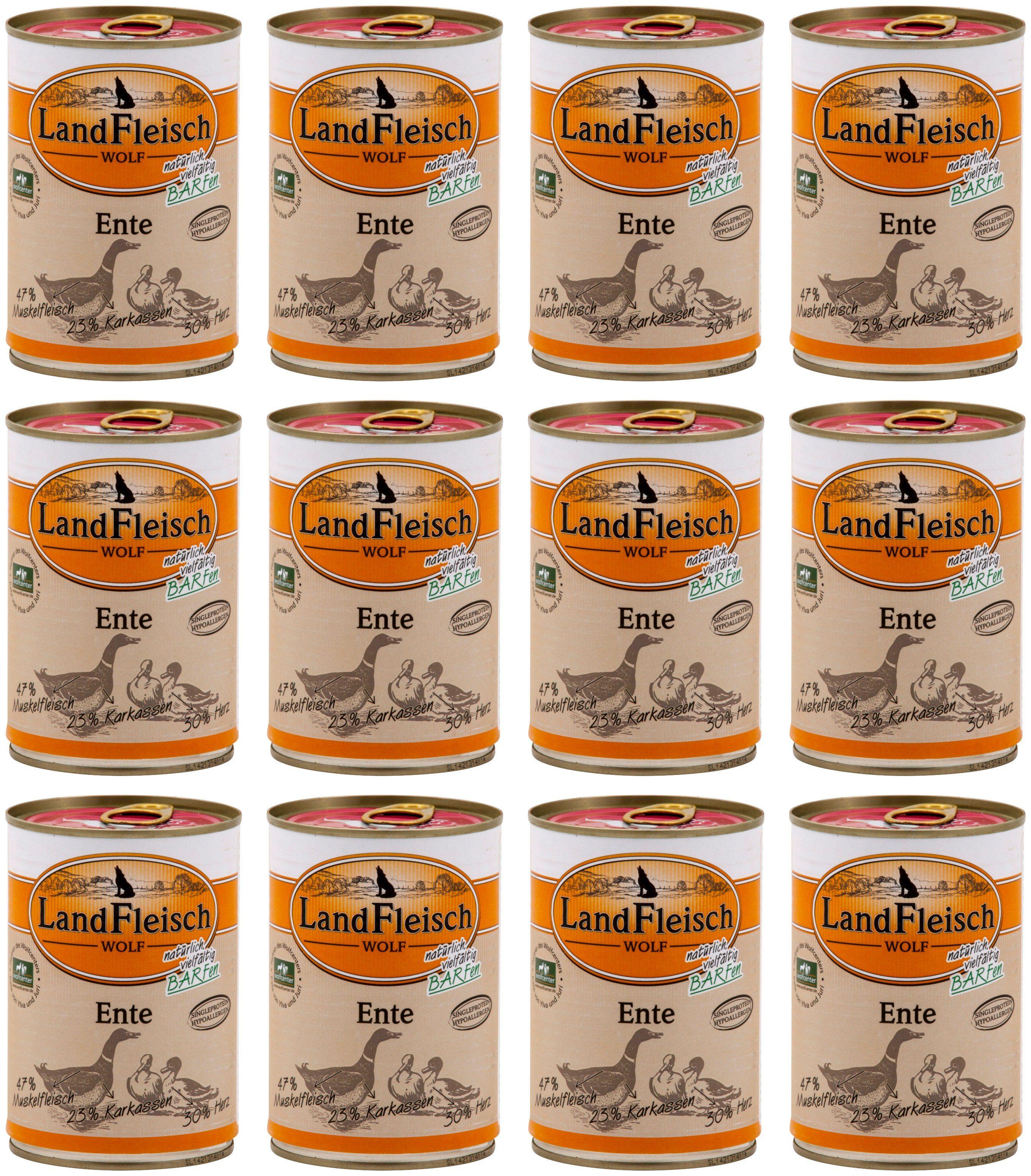 LANDFLEISCH Hundenassfutter »Wolf Barf Ente«, 12 Dosen á 400 g