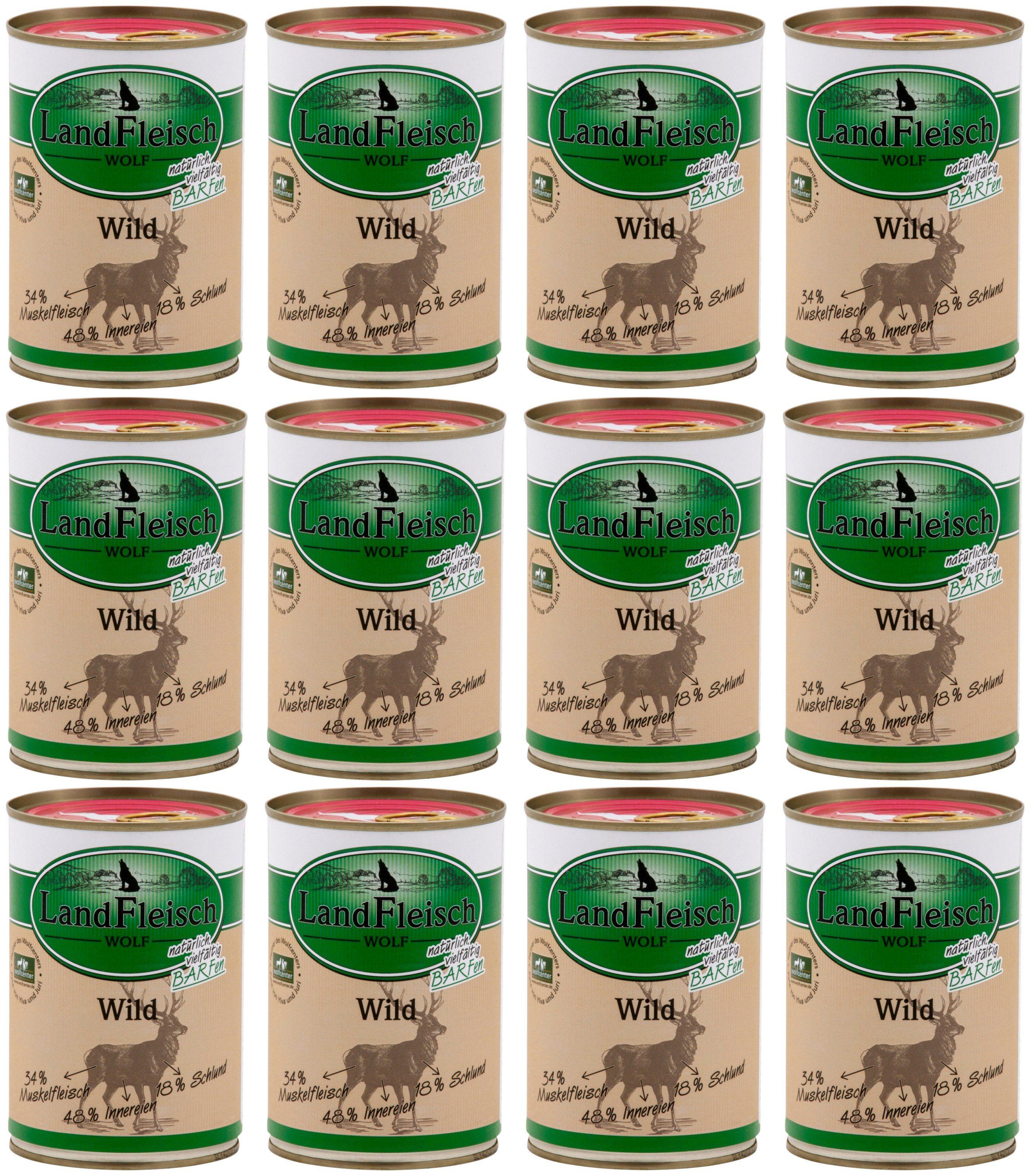 LANDFLEISCH Hundenassfutter »Wolf Barf Sensitiv Wild«, 12 Dosen á 400 g
