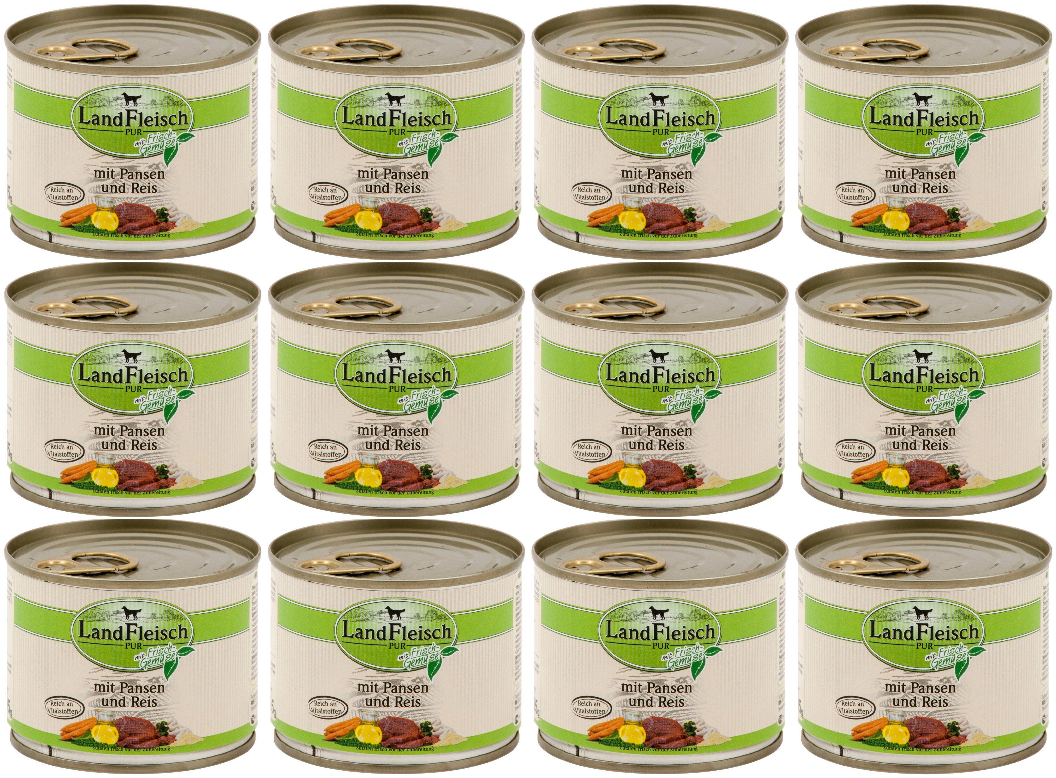 LANDFLEISCH Hundenassfutter »Pur Pansen und Reis«, 12 Dosen á 195 g
