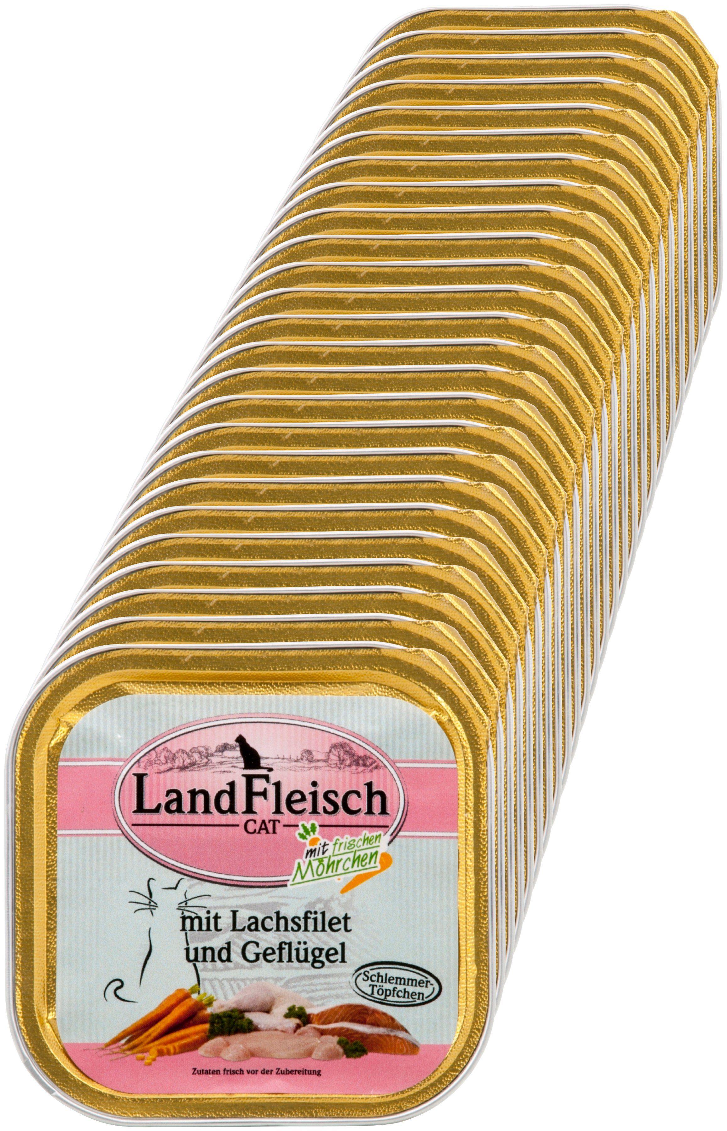 LANDFLEISCH Katzennassfutter »Lachsfilet und Geflügel«, 30 Schalen á 100 g