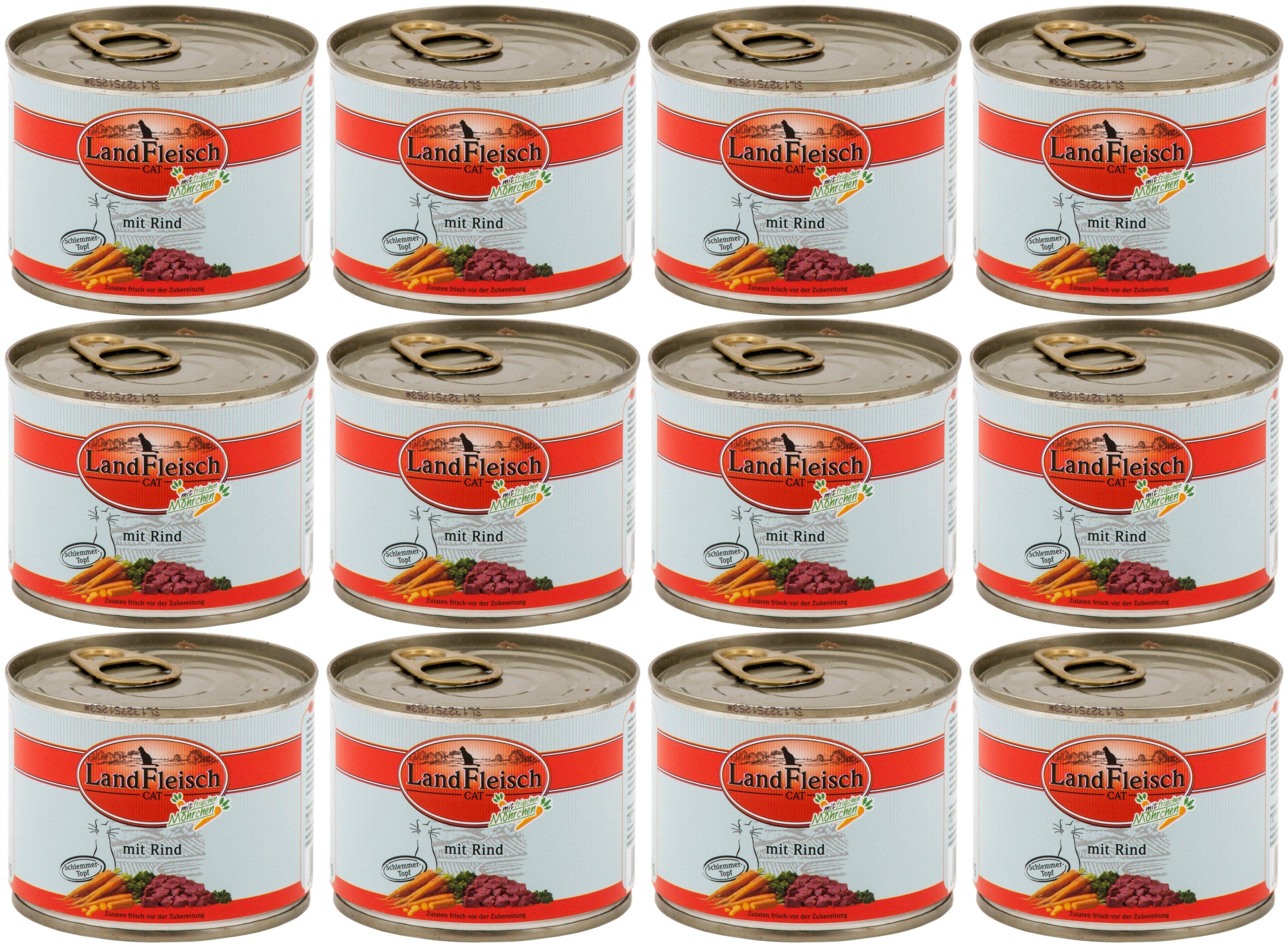 LANDFLEISCH Katzennassfutter »Rind«, 12 Dosen á 195 g