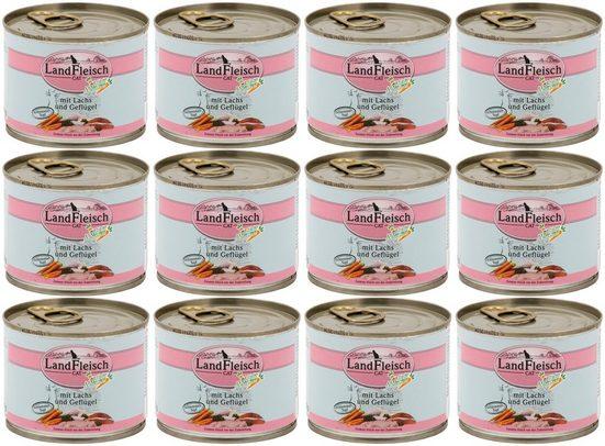 LANDFLEISCH Katzennassfutter »Lachs und Geflügel«, 12 Dosen á 195 g