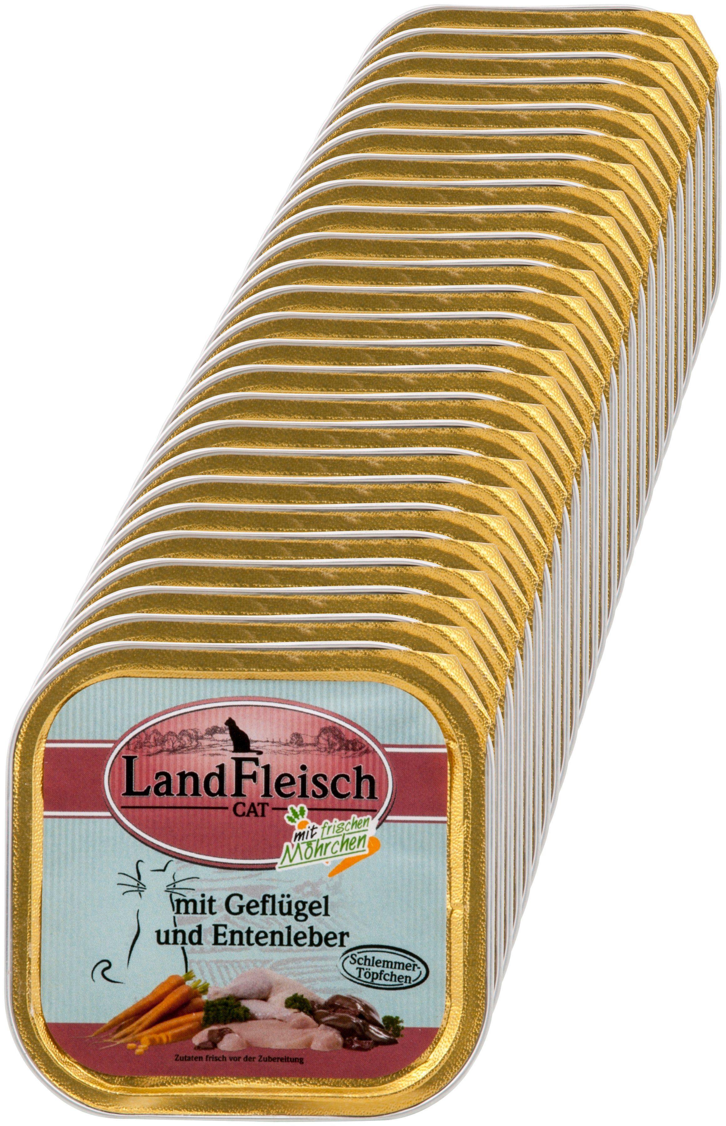 LANDFLEISCH Katzennassfutter »Geflügel und Entenleber«, 30 Schalen á 100 g