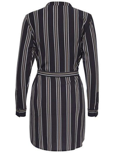 Jacqueline de Yong Gestreiftes Kleid mit langen Ärmeln