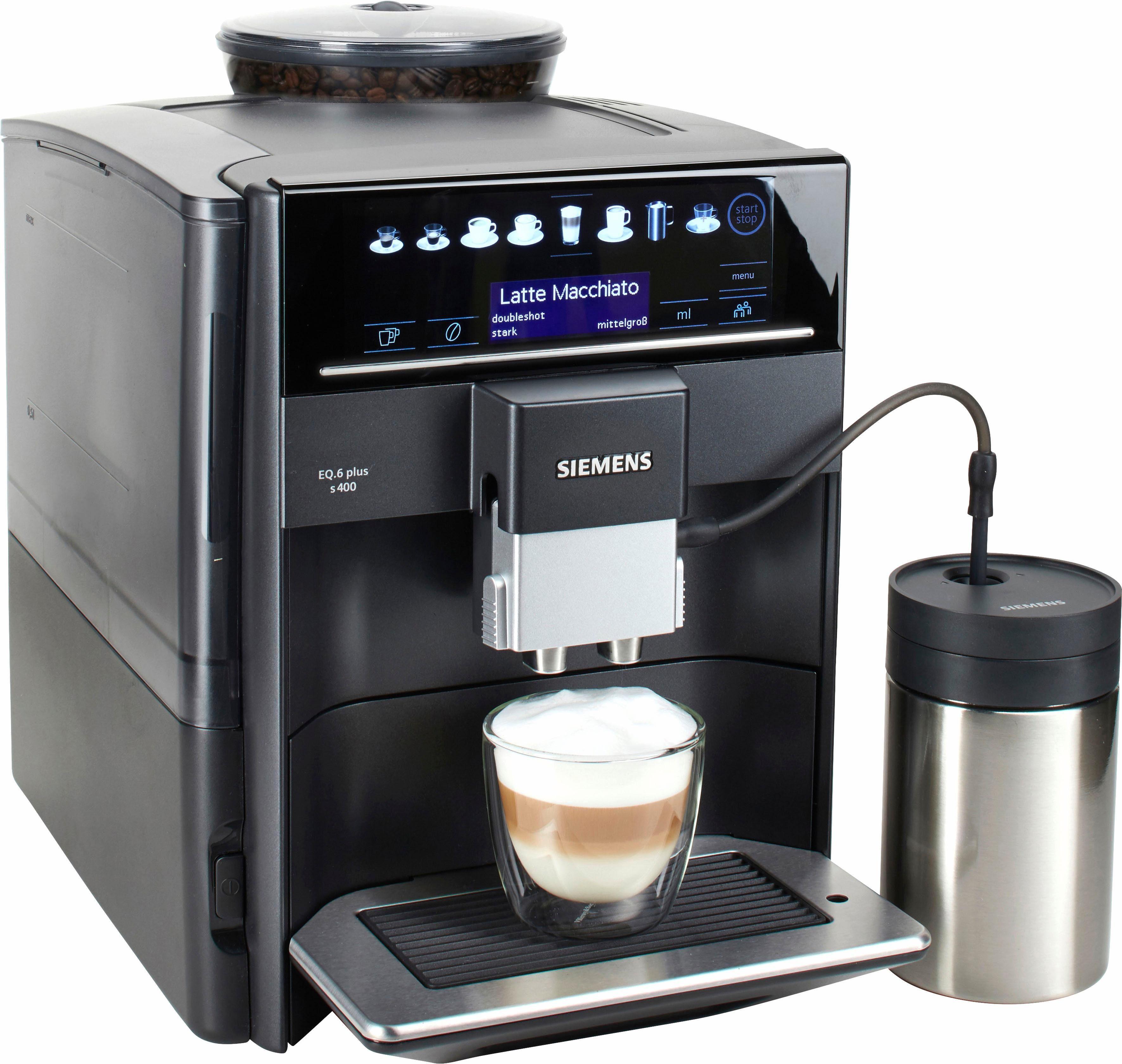SIEMENS Kaffeevollautomat EQ.6 plus s400 TE654509DE, 1,7l Tank, Scheibenmahlwerk, mit Milchbehälter im Wert von UVP 49,90 €