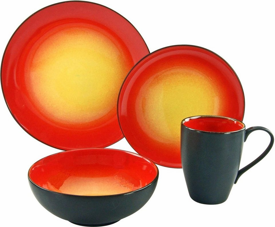 Creatable Single Geschirr Set Hot 4 Tlg Steinzeug