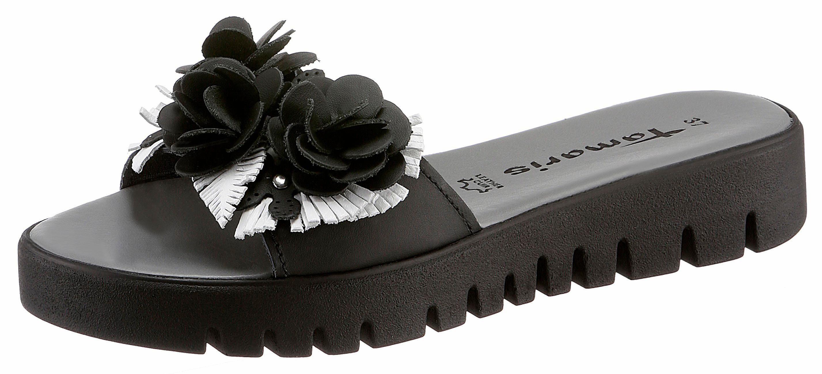 Tamaris Pantolette, mit Blütenapplikation kaufen  schwarz-weiß